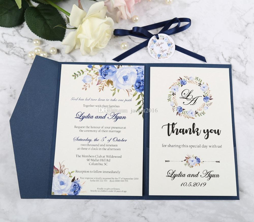Navy Blue Pocket Wedding Invitation With Rsvp Card And Navy Ribbon And Tag Invitations For Bridal Birthday Graduation Wedding Supplies Free Samples
