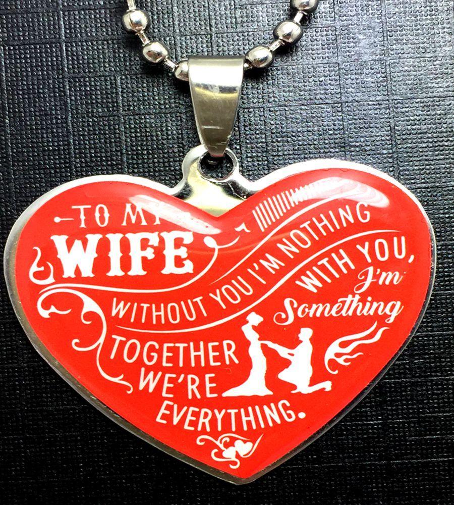 1 Coração para minha esposa Surpresa aço inoxidável pingentes colar Romântico aniversário de casamento aniversário Cadeia de jóias