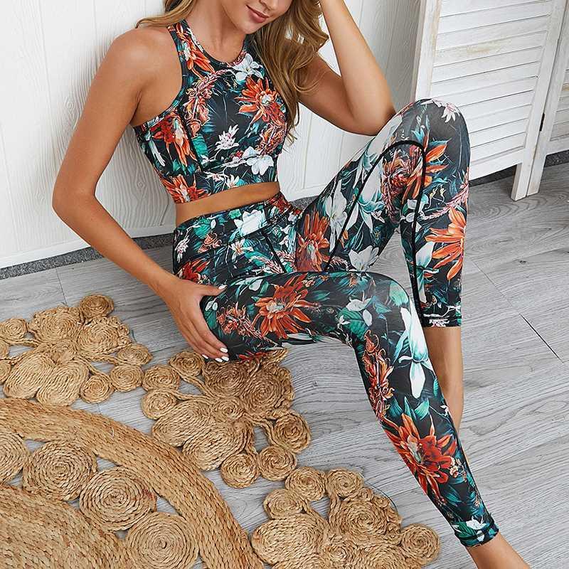 Blume Yoga Set 2020 Druck Fitness Anzug Neue Gym Kleidung Dry Fit Workout Kleidung für Frauen Sportbekleidung 2 Stück BH + Hosen Frauen