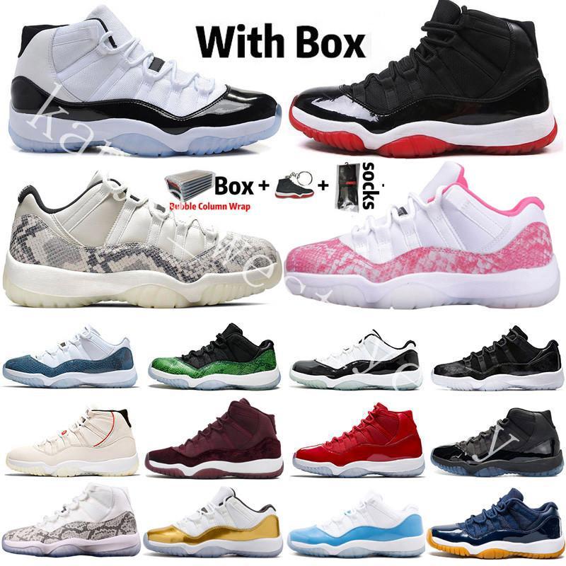 2020 mit dem Kasten Bred 11 Herren-Basketball-Schuhe 11s Concord Hoch Platinum Tint Space Jam Kappe und des Kleides Männer Frauen Sport-Turnschuhe Größe 5,5-13