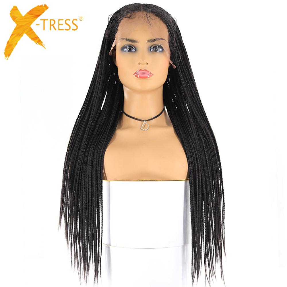13x6 Lace Front Synthetic Braided Wigs X Tress Long Box Cornrow Braid Faux Locs Wig African American Women Hairstyle Middle Part Wigs Online Headband Wigs From Xtresshairstore 53 52 Dhgate Com
