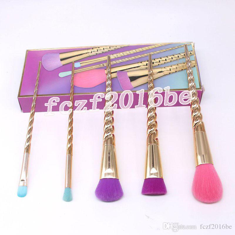 stock!! Makeup brushes sets cosmetics brush 5 pcs bright colors rose gold Spiral shank make up brush screw tools Contour box DHL