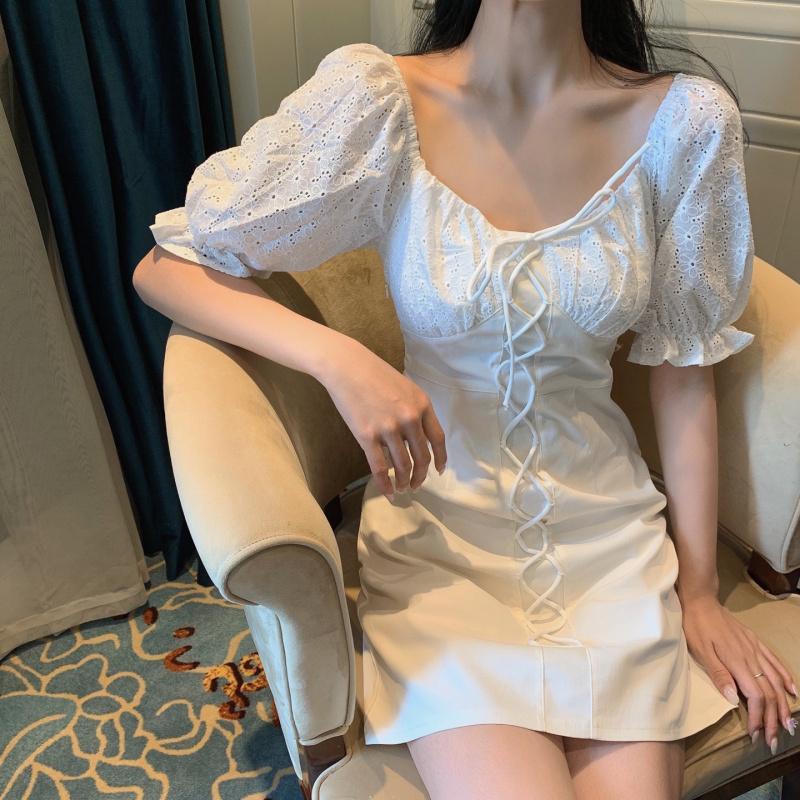 Lumière vent mûre taille robe blanche femme mince jupe 2020 nouvelle jupe robe de fan déesse tempérament d'été