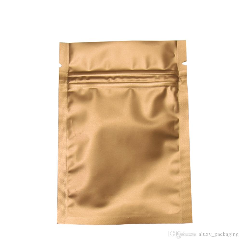 Multiple Sizes 200Pcs/Lot Gold Frosted Mylar Zipper Package Pouch Zip Lock Aluminum Foil Packing Bag For Coffee Tea Powder Bulk Food