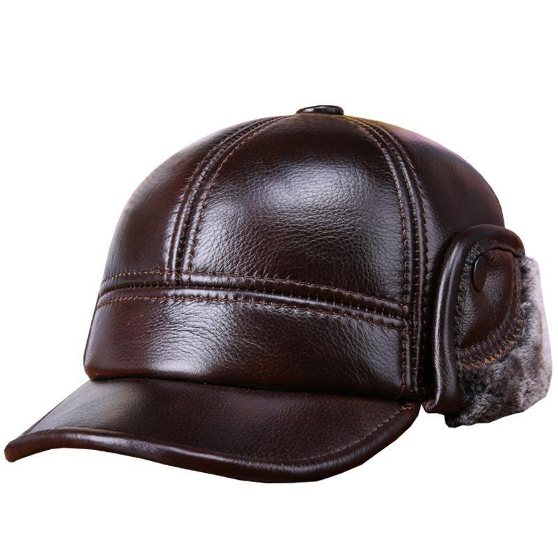 Los hombres de moda de invierno Snapbacks real la piel de vacuno color puro interior de terciopelo al aire libre gorra de béisbol con el plegado de Earflaps
