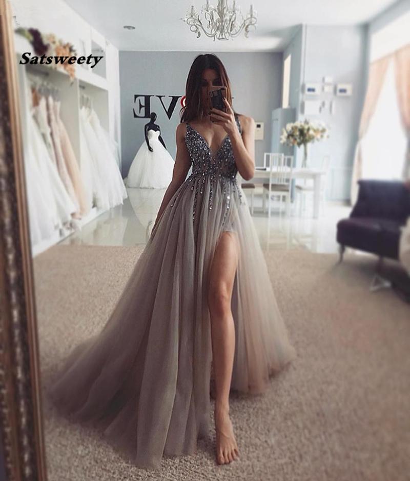 Abiti da sera sexy Abiti da sera lunghi V-collo alto tulle in tulle in rilievo fatto a mano Vestidos de gala cristallo formale party gown abito da ballo grigio abiti da ballo 2020