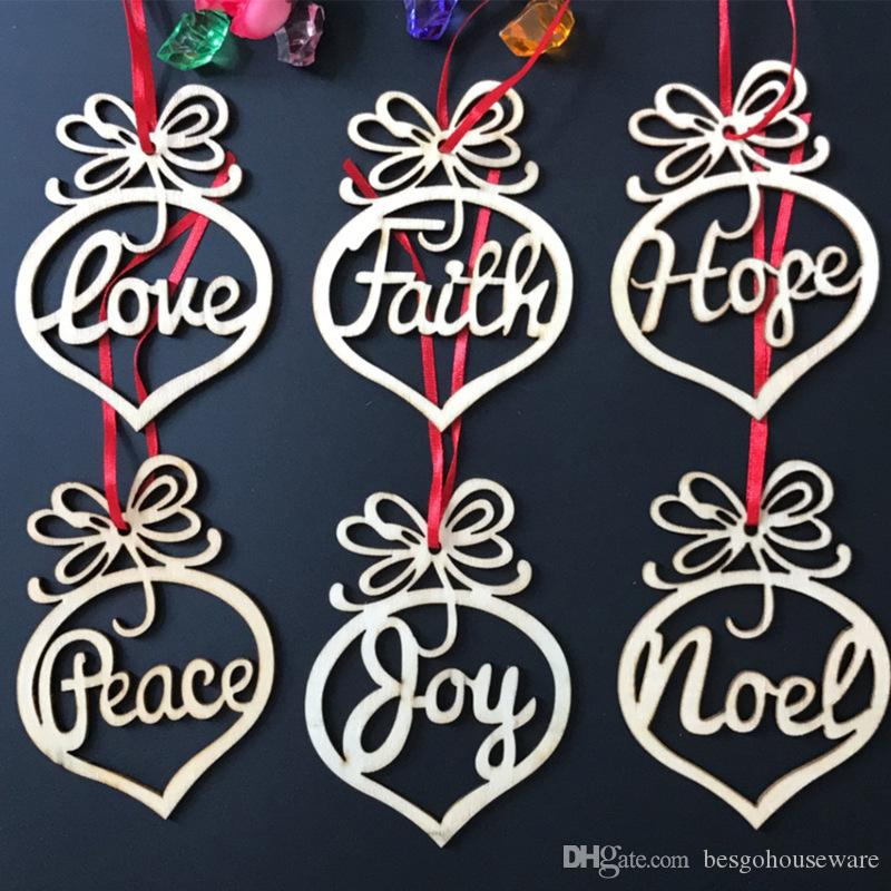 Christmas Letter Wood Heart Bubble Pattern Ornament Christmas Tree Decorations Home Festival Decoration Heart Bubble Pattern Pendant BH0305