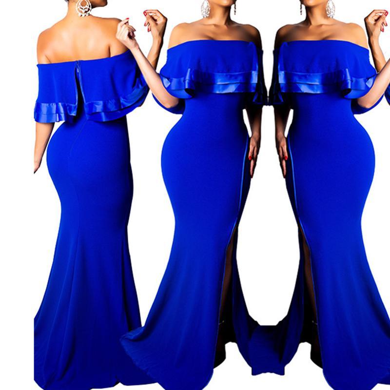 Señoras de la longitud del piso del hombro frío azul de Split Maxi vestidos de las colmenas del atractivo de la tapa del tubo Celebre vestidos de eventos para las mujeres Vestidos