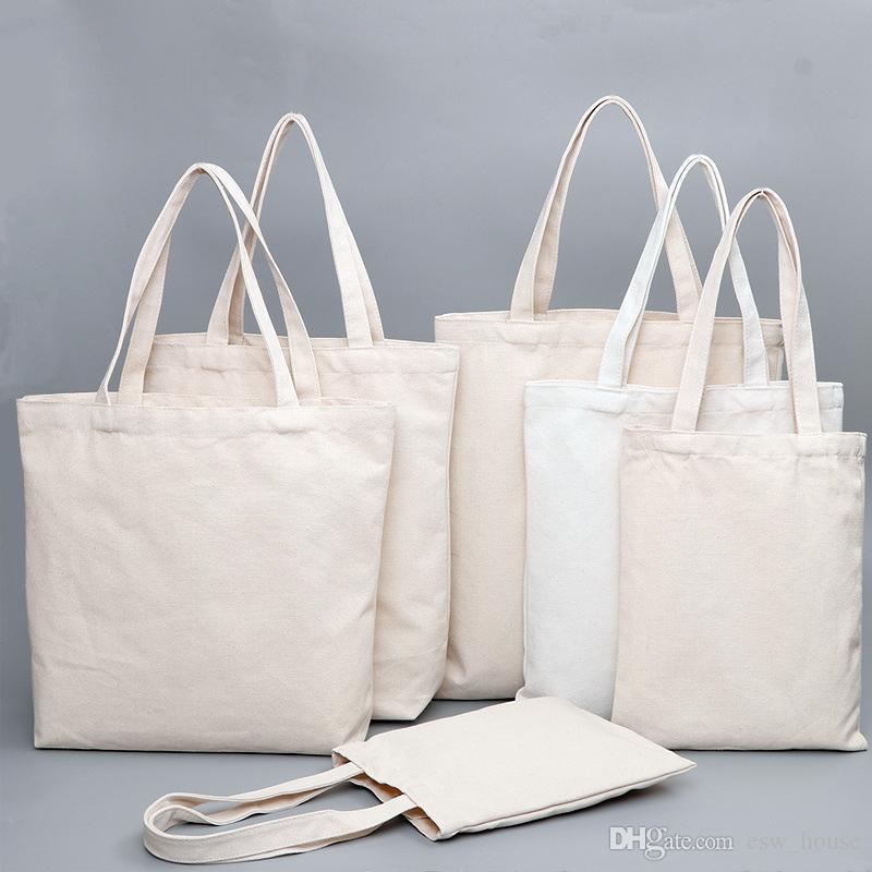 Leinwand-Tasche Lebensmittel täglichen Gebrauch wiederverwendbare Baumwolleinkaufstasche Studenten DIY Segeltuch Handtaschen Reisegelegenheitseinkaufstaschen