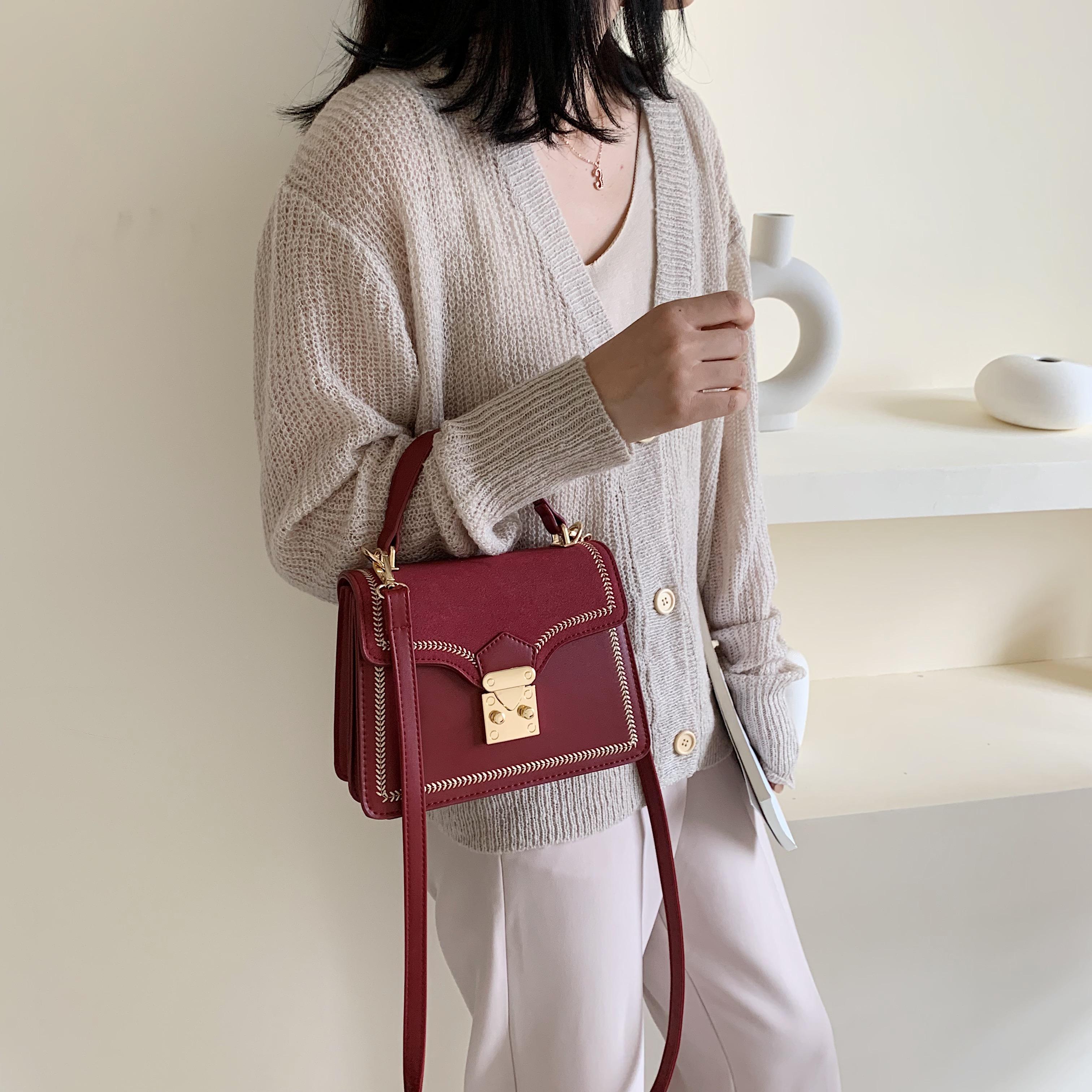 Scrub contraste Cuero Color Crossbody empaqueta para las mujeres 2020 Otoño de la señora mensajero del hombro del bolso femenino de viaje bolsos