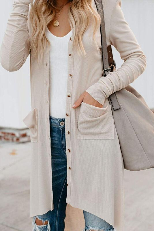 Les femmes Bouton Pull Cardigans col en V à manches longues en maille côtelée Détail New Manteaux