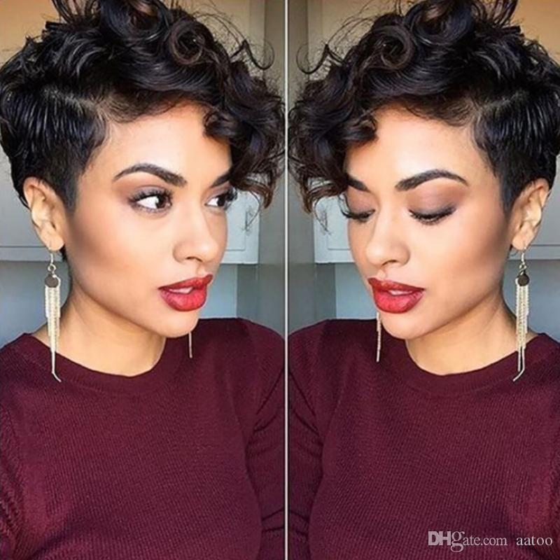 Short Fluffy Wavy Wigs Big Curls lace front wigs for Black Women African American human Hair 180%density Wig With Bangs