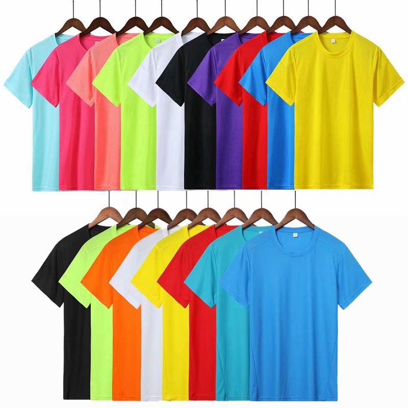 Homens Running Women T Shirt Academia seco respirável rápida camiseta Roupa ginásio de treinamento de futebol ostenta o jérsei sólidos Camisas Tops