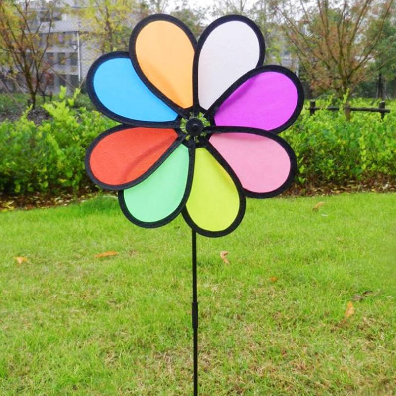 Yeldeğirmeni Oyuncaklar Çocuk Çocuk Bahçe Dekorasyon 8 Yapraklar Renkli Dış Mekan Spinner