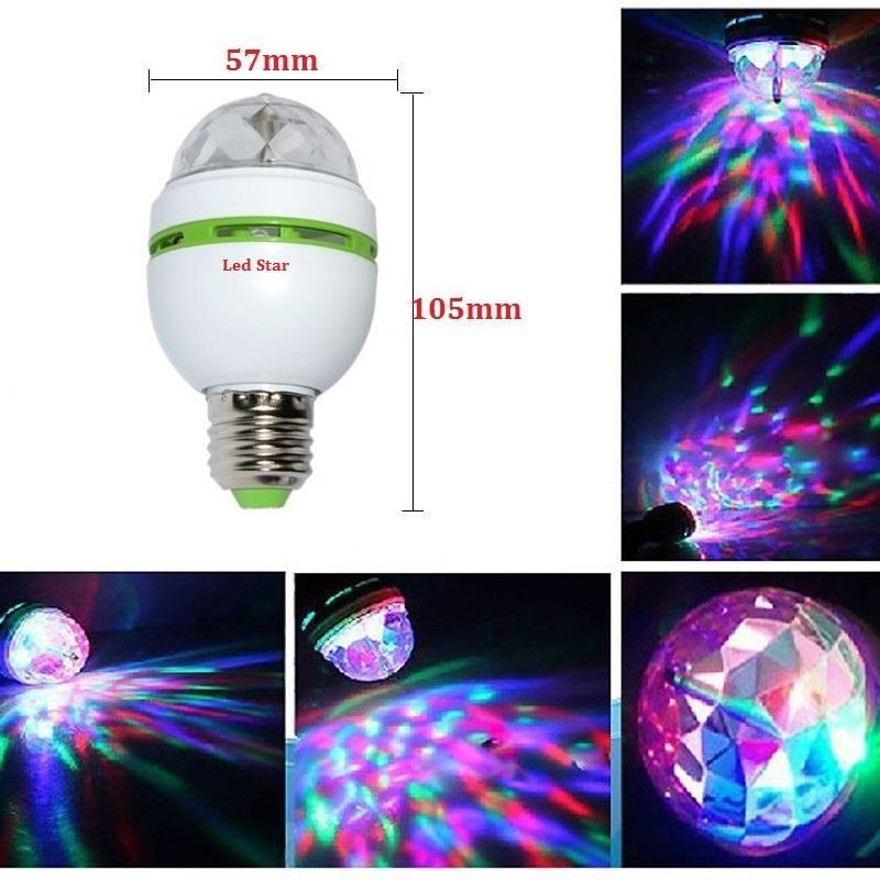 سحر الكرة RGB اللون الكامل 3W E27 LED لمبة كريستال السيارات الدوارة المرحلة تأثير DJ ضوء لمبة ليزر البسيطة ضوء المرحلة العارض
