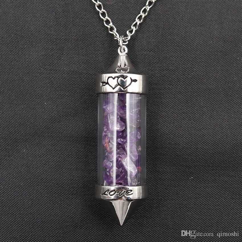 qimoshi Reiki Healing Crystal Pendant Wishing Bottle Maglione catena pendente Lady Wild Temperamento personalità collana