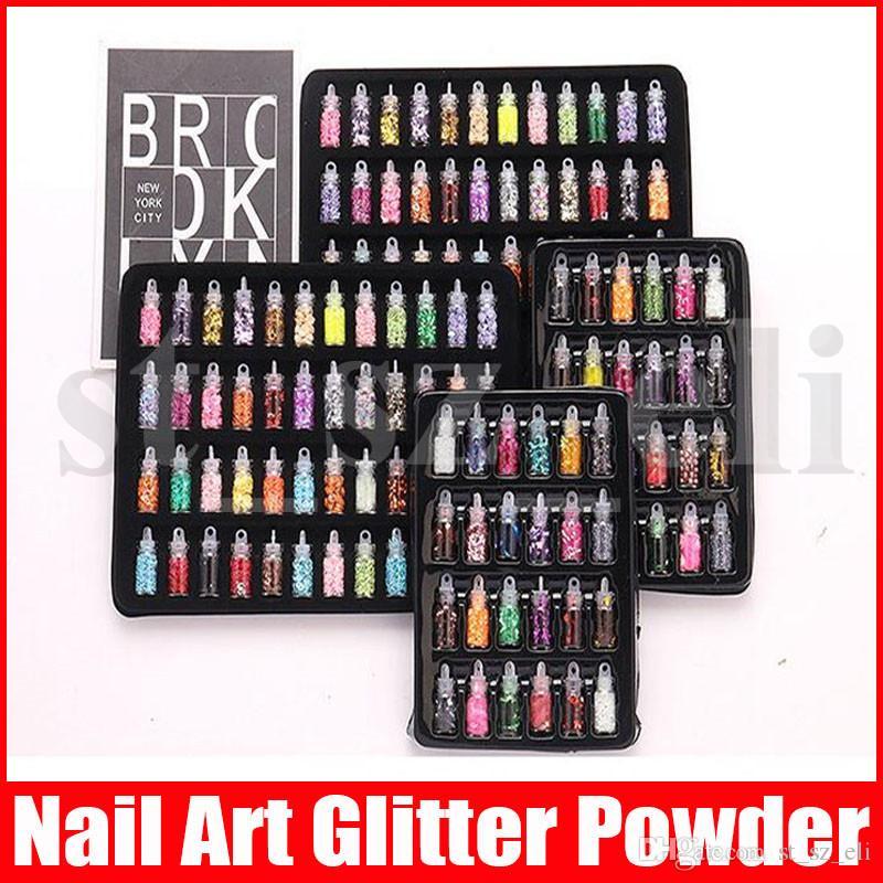 Mini Bottle Glitter Nail Art Puder-Staub-Tip Strass Maniküre Werkzeuge Schönheit Zubehör Dekoration 48pcs 24pcs 12pcs