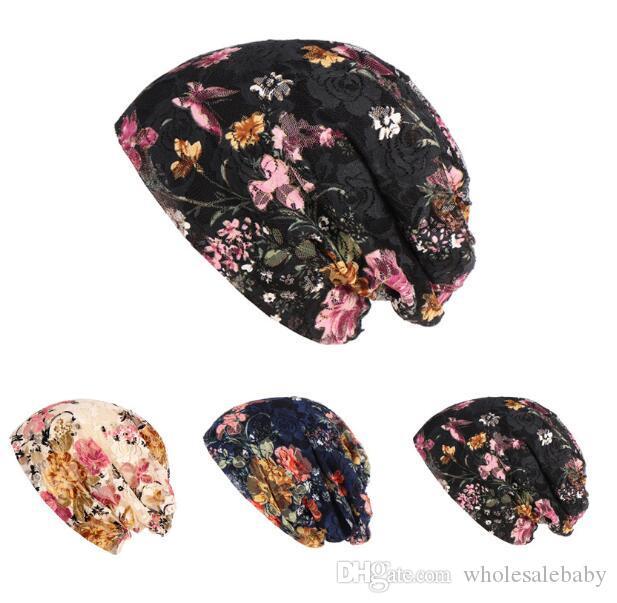 Ethnic Maternal Turban Summer Lace Floral Hats Women Flowers Print Skull Caps Beanie Cap Postpartum Pregna Headgear Accessorie AZYQ6138