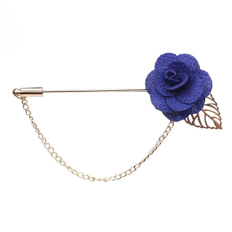 Wholesale- Trendy Handmade Flower Brooch Lapel Pins for Women Men Suit Boutonniere Button Stick Brooches Wedding Party Jewelry 3651