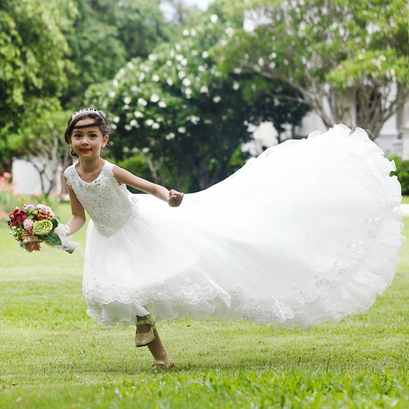 Long Tailed White Flower Girls Dress Layers White Girl Vestido for Party 2020 Girl Clothes 3 4 6 8 10 12 14 Years Old RKF174026