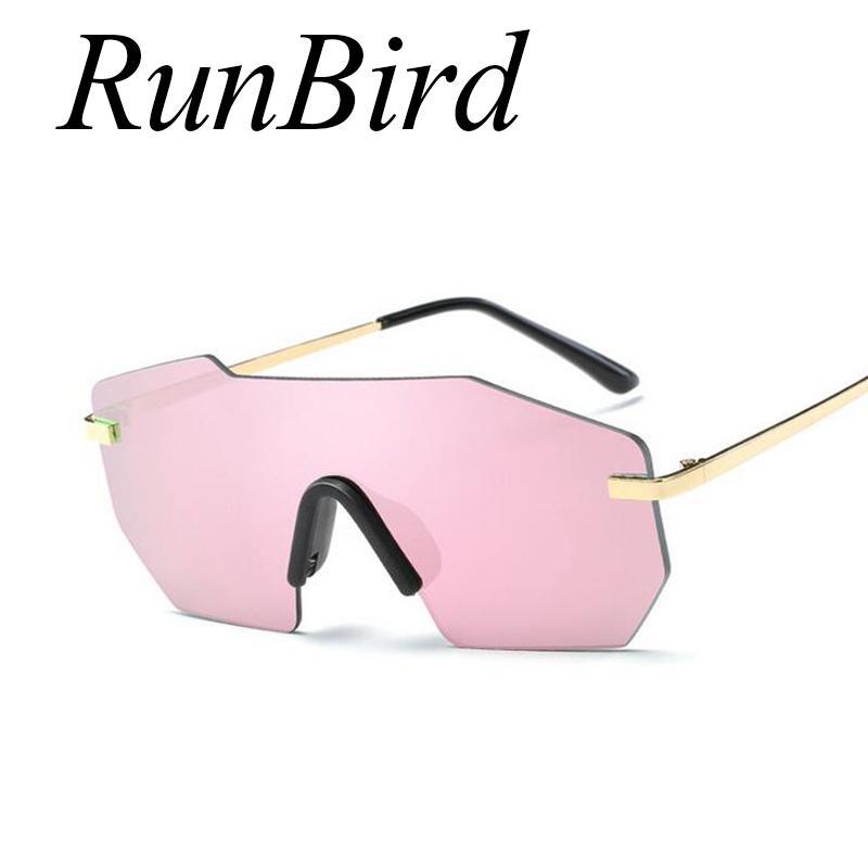 RunBird 2020 أزياء المشاهير الكبير كول المتضخم النظارات الشمسية النساء الرجال اللون الوردي عدسة بدون إطار نظارات شمسية 462R