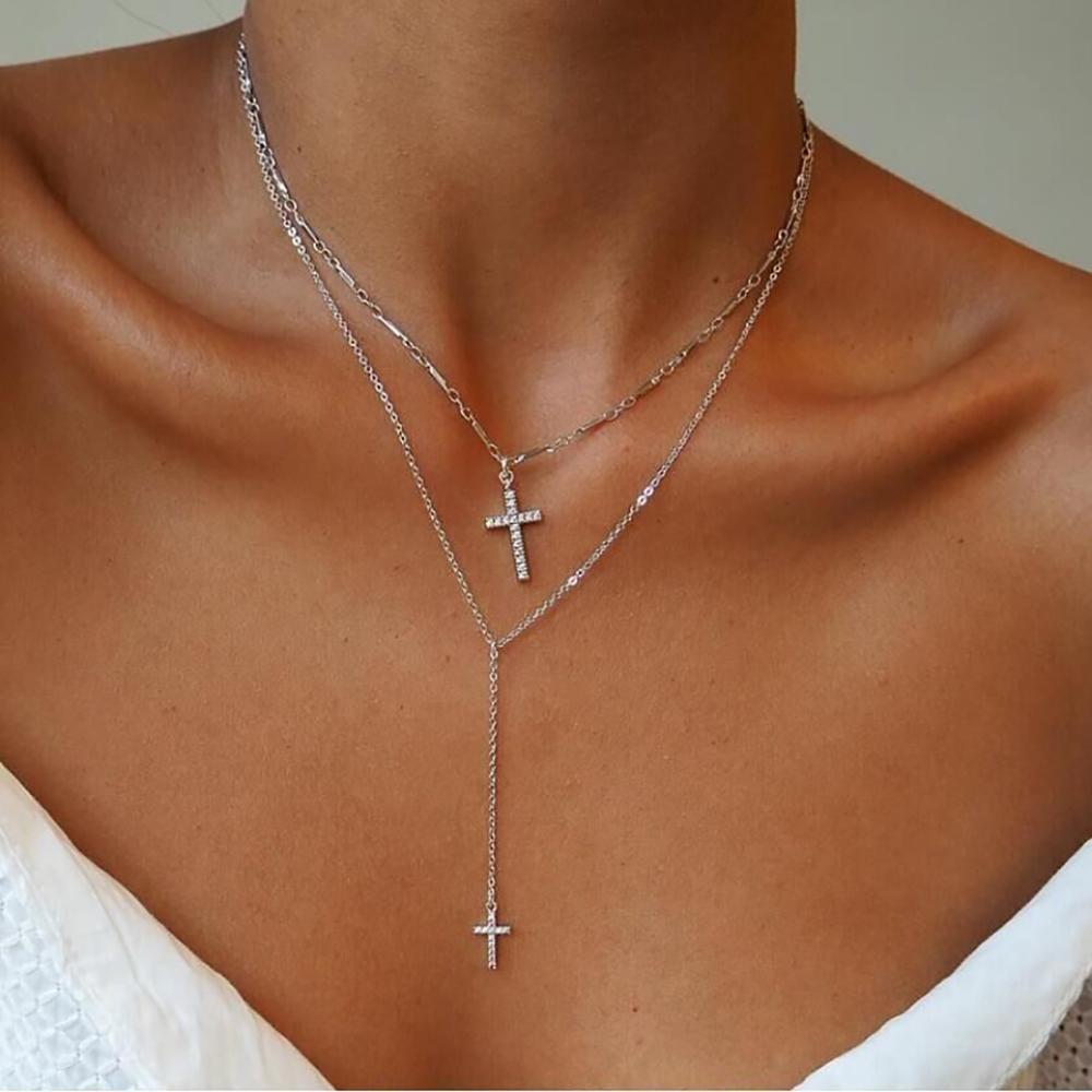 Moda da Cor do Ouro De Cristal Cruz Colares Boho Dupla Camada Colar Religiosa Cristã Declaração Cristã Católica