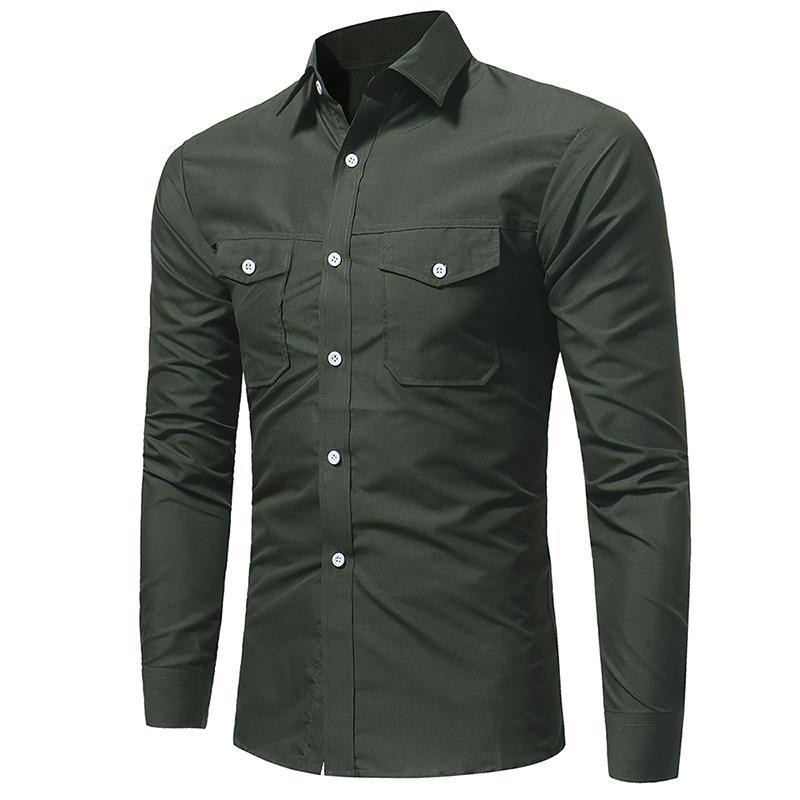 Дизайнерские повседневные рубашки карманы однобортные топы с длинными рукавами футболки мужские 19ss Весна
