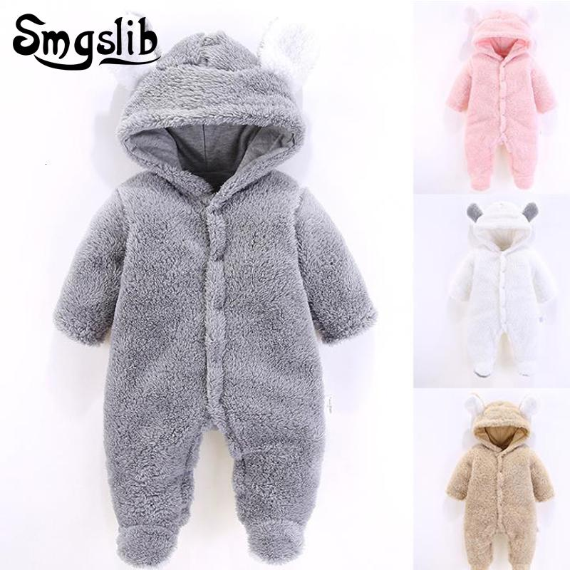 New born baby clothes Coral Fleece warm Baby boy winter clothes Animal bear Overall baby unisex onesie girls rompers jumpsuitMX190912