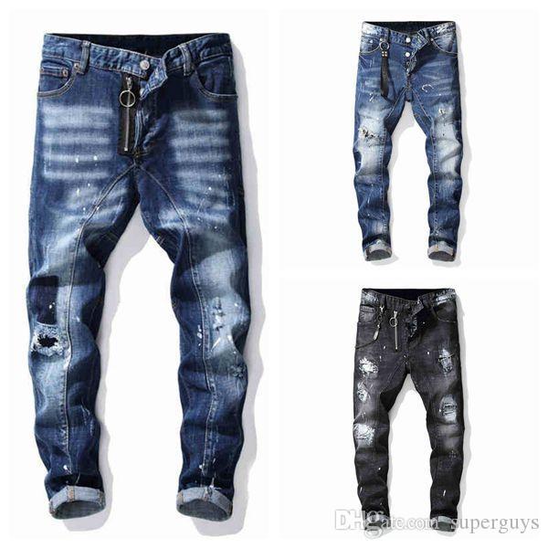 Hommes Distressed Ripped Jeans Slim Fit Motard Denim Trou Hip Hop Mens Denim Skinny Pants Streetwear