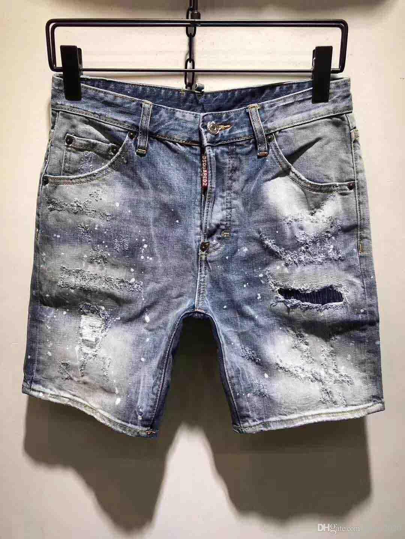 2020 Yeni Moda Erkek Kısa Jeans Marka Bermuda Yaz Pamuk Şort Nefes Casual Kot Şort Erkek Büyük Beden Pantolon adamı Ripped