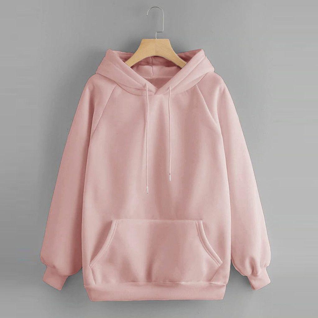 Fashion-High Quality Womens Girls Hoodies Sweatshirts Casual Solid Color Hooded Pocket Long Sleeve Pullover Sweatshirt