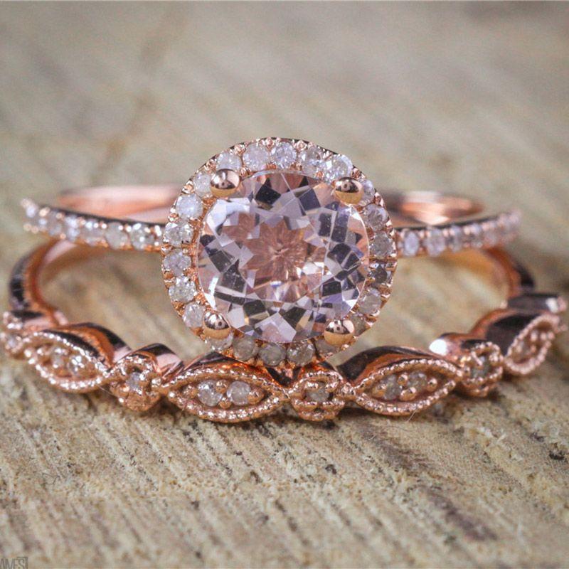 Vagzeb Female Square Ring Set Rose Gold Farbe Ring Vintage Wedding Band Versprechen Verlobungsringe für Frauen
