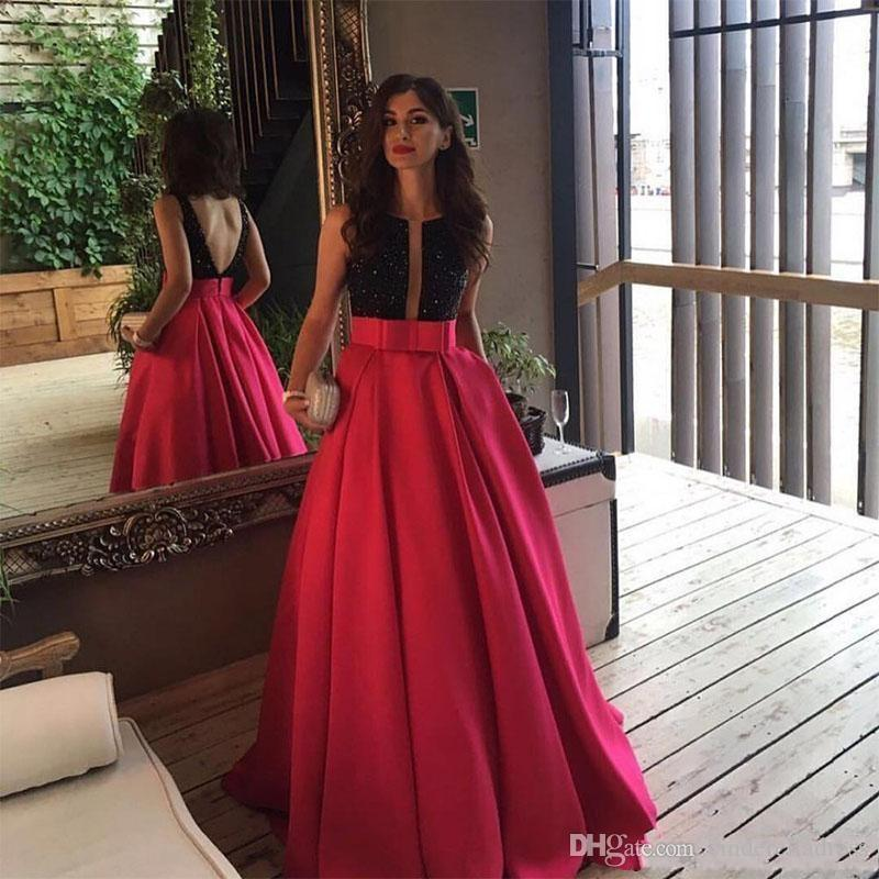 2019 New Open Back Fuchsia Long Evening Prom Dresses Arabic Formal Dress Black Beaded Vestido De Gala Custom Special Occasion Evening Gowns