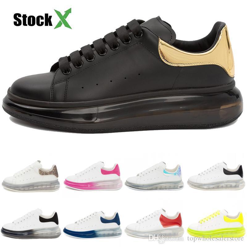 2020 Plataforma Hombres Mujeres estilista Casual zapatos de terciopelo Negro Oro Triple blanca Crystle cojín de la suela Formadores zapatillas de deporte de cuero genuino