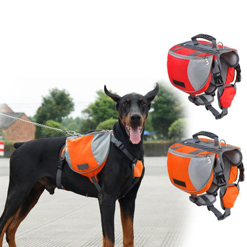 Pet Открытый Рюкзак Большая Собака Отражающие Регулируемая Saddle Bag Harness Carrier для путешествий Туризм Отдых Безопасность Щенок Harness