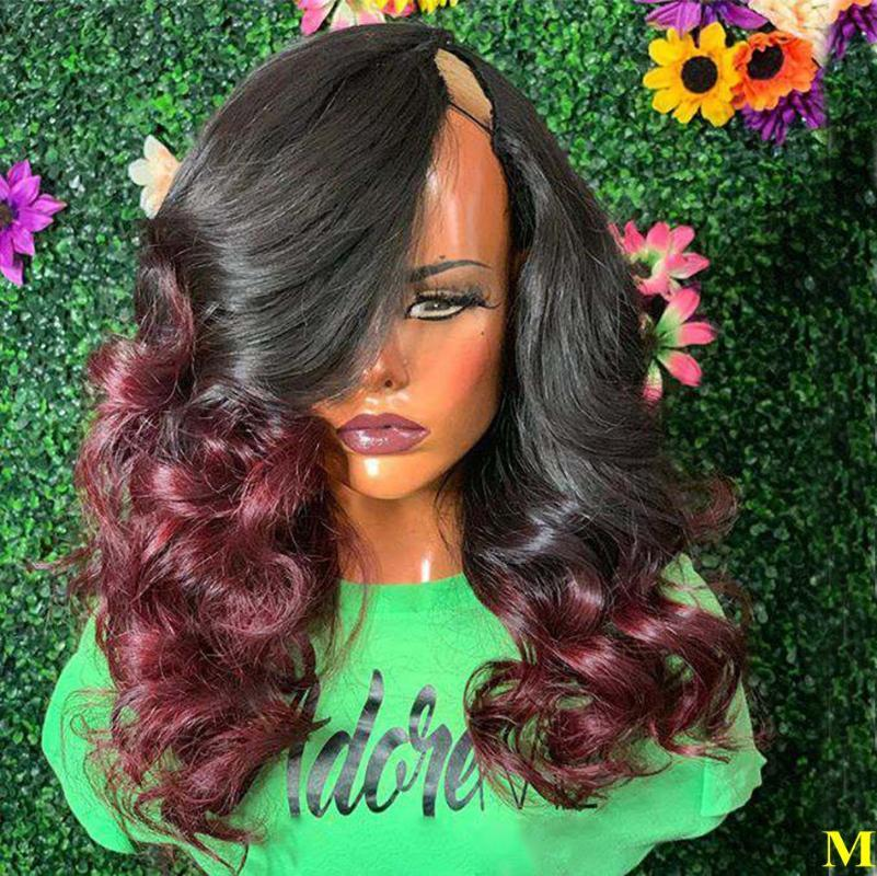البرازيل 1B / Burgundy Ombre Human Hair U part W الباروكات للنساء السود 180denity Non Lastle Remy Hair Wiggs Left Part