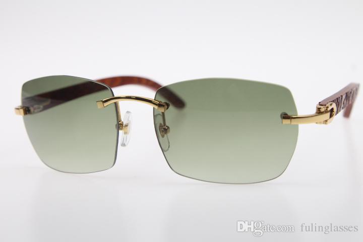 Kostenloser Versand randlose Brille Holz geschnitzt SunGlasses Hot 8200905 Randlos SunGlasses Hot Unisex Holz Sonnenbrille Katzenauge mit Kasten Hellgrün
