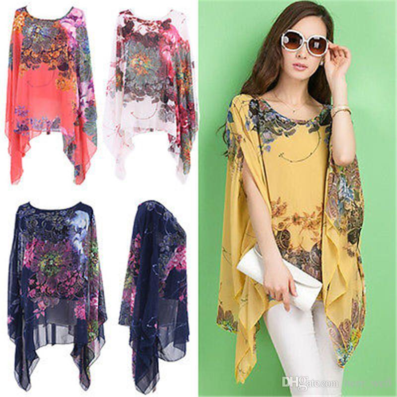 New Arrivals 2017 Women Blouses One Size Floral Women Tops Chiffon Batwing Casual Blouse Kimono Cardigan Chemise Femme