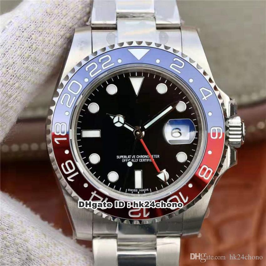 EW Mejor relojes GMT II Pepsi ETA2836 28800VPH Autoamtic del reloj para hombre 116719 de cerámica Bisel Negro Dial correa de acero inoxidable de pulsera para caballero