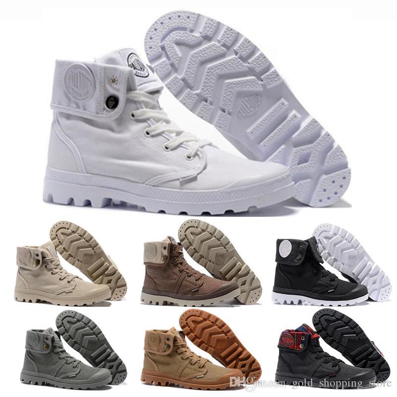 Tüm Beyaz Paladyum Pallabrouse Yüksek Ordu Askeri Ayak Bileği Çizmeler erkekler kadınlar için kırmızı Bej Tuval Sneakers açık Adam Denim Mavi Rahat ayakkabı