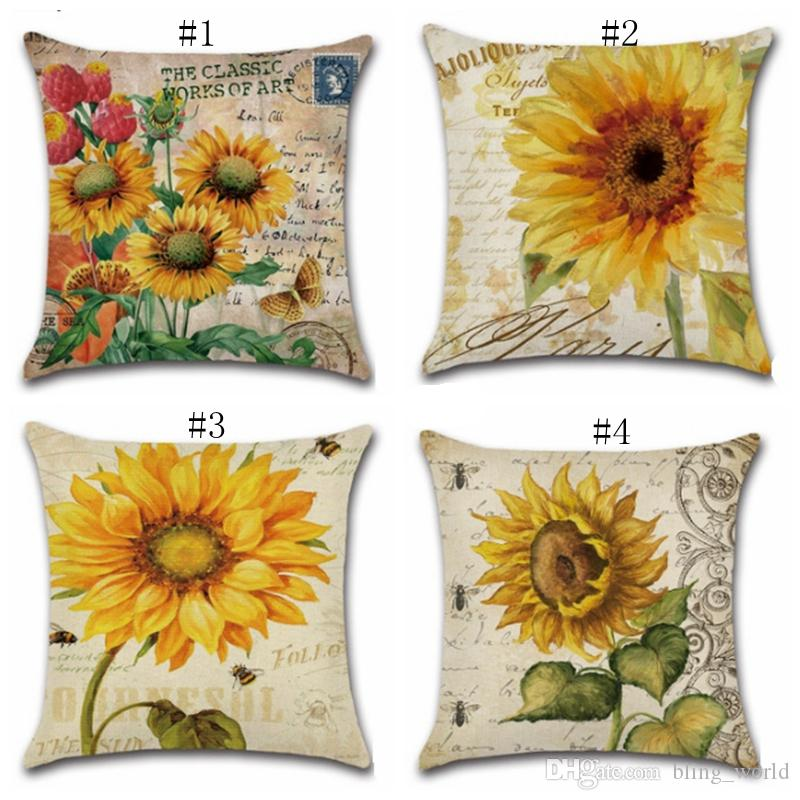 Sunflower Cushion Covers Vintage Style Decorative Pillows Cover Hand Painted Flower Throw Pillow Case Sofa Seat Home Decor Yw3371 European Pillow