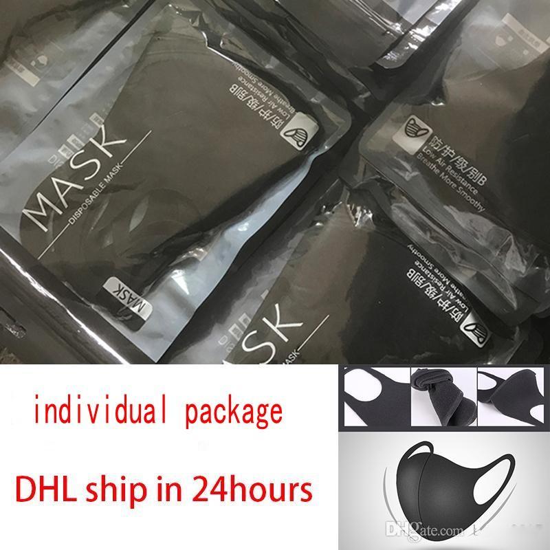 DHL envía el paquete individual Máscara anti neblina de polvo reutilizable lavable Mujeres Hombres a prueba de polvo Boca-mufla máscara facial Boca Máscaras 30x13cm