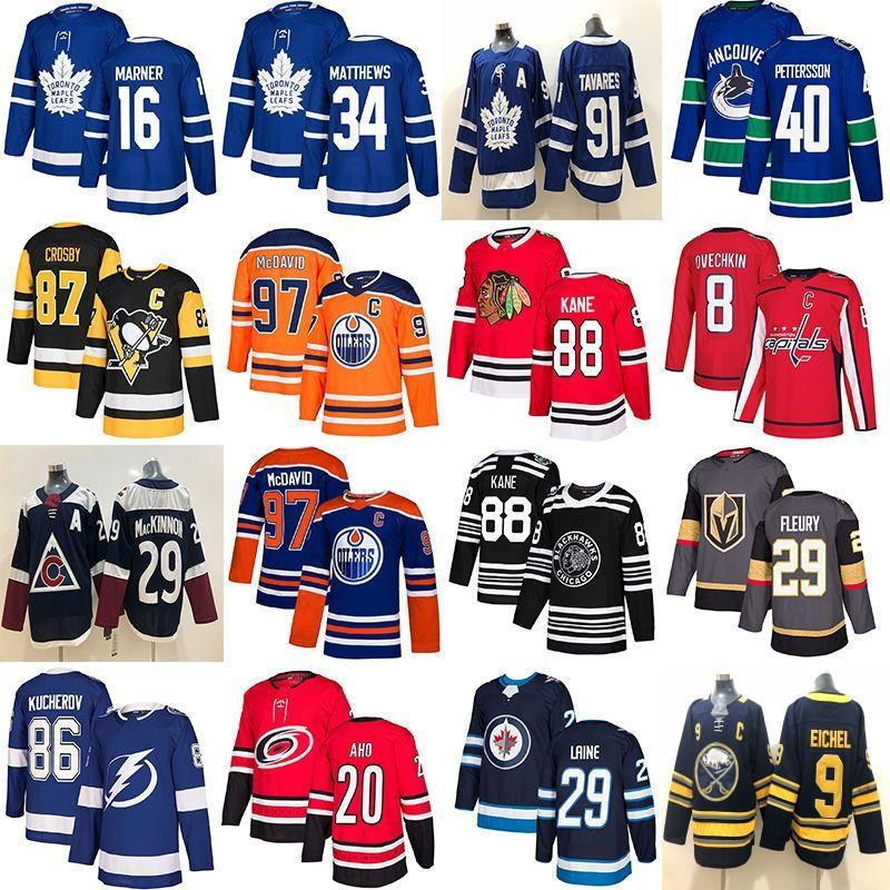 Toronto Ahornblätter Hockey Jersey Chicago Blackhawks Vancouver Canucks 40 Pettersson Edmonton Öler 97 McDavid Vegas Golden Ritter Fleury