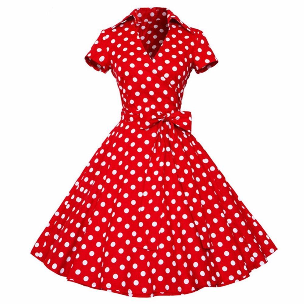 Joineles Plus Size 4xl Vestido Retro de Mujer 50s 60s Vintage Rockabilly Swing Vestidos Femeninos Cuello V Manga Corta Punto Vestido Estampado MX19070304