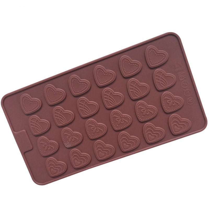 24 Holes Corações Silicone Bolo Mold Para Ferramentas Bolos Chocolate Fondant doce Ice Sobremesa Baking Bakeware de decoração
