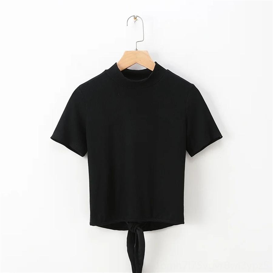 estilo T-shirt de mangas curtas C0649-2086 das mulheres com a parte traseira T-shirt de manga curta nua C0649-2086 das mulheres estilo com costas nuas