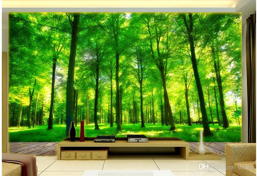 WDBH 3d wallpaper custom photo on the wall Green woods TV background wall living room home decor 3d wall murals wallpaper for walls 3 d
