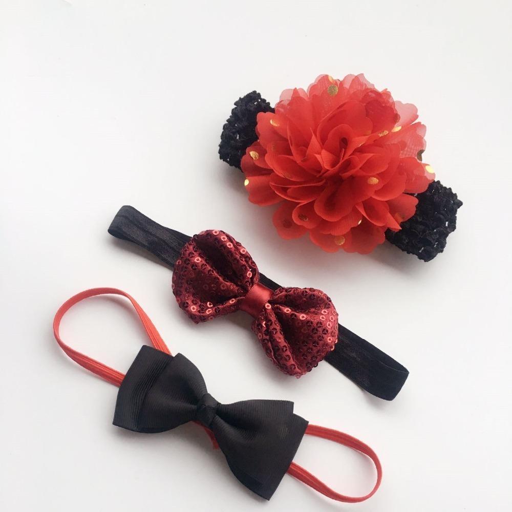 3PCS/Set Handmade Headband Big flower bows Pearl flower Headbands For cute Kids Girls Hair Accessories Headwear cloth head band