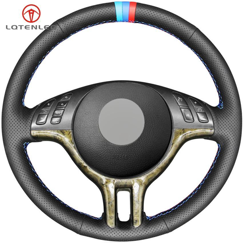 LQTENLEO جلدية سوداء حقيقية DIY مخيط اليد لتوجيه السيارات تغطية عجلة القيادة لسيارات BMW E46 318I 325I 330CI E39 X5 E53 E36 Z3 / 7 E36 / 8