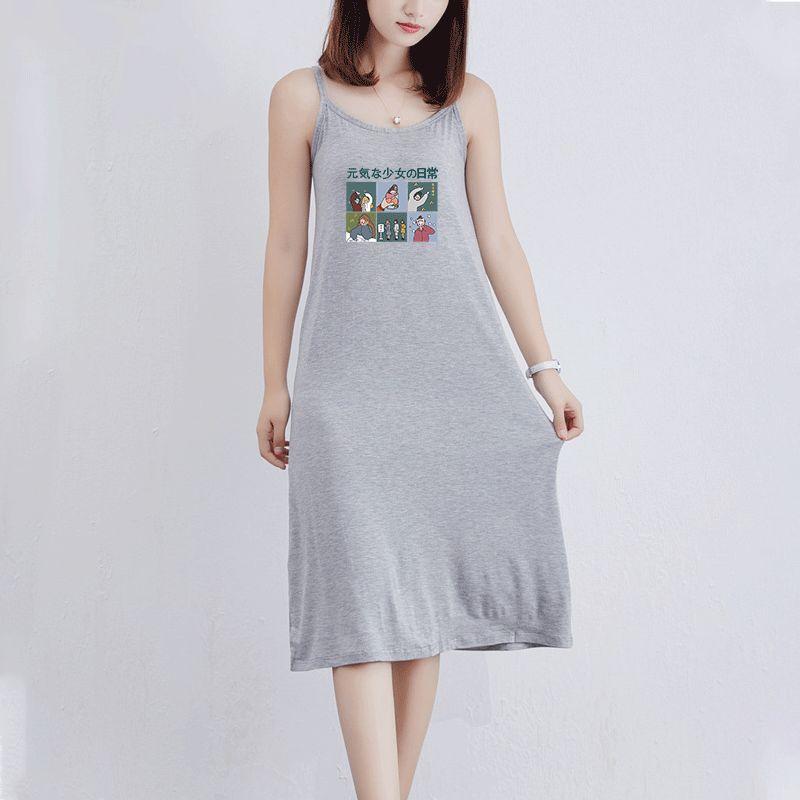 Женская мода платье 2020 Летний Новый дышащий Повседневный полудлинной Юбка Trend Cute Cartoon Character Печатный шаблон Sexy Suspender юбка